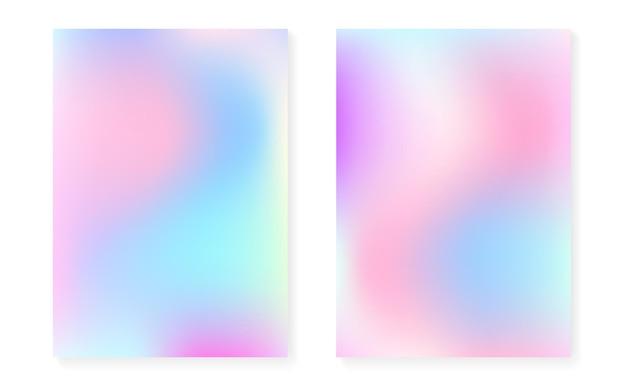 Holographischer steigungshintergrundsatz mit hologrammabdeckung. 90er, 80er retro-stil. perlglanz-grafikvorlage für broschüre, banner, tapete, handy-bildschirm. neon minimaler holographischer farbverlauf.