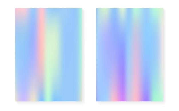 Holographischer steigungshintergrundsatz mit hologrammabdeckung. 90er, 80er retro-stil. schillernde grafikvorlage für broschüre, banner, hintergrundbild, handy-bildschirm. bunte minimale holographische steigung.