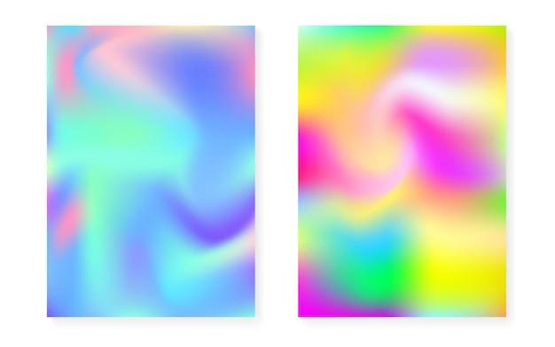 Holographischer steigungshintergrundsatz mit hologrammabdeckung. 90er, 80er retro-stil. schillernde grafikvorlage für broschüre, banner, hintergrundbild, handy-bildschirm. fluoreszierender minimaler holographischer farbverlauf.