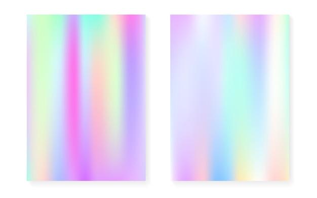 Holographischer steigungshintergrundsatz mit hologrammabdeckung. 90er, 80er retro-stil. schillernde grafikvorlage für flyer, poster, banner, mobile app. minimaler holographischer farbverlauf aus kunststoff.