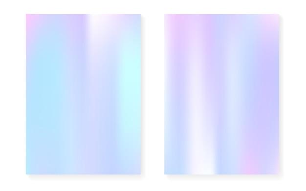 Holographischer steigungshintergrundsatz mit hologrammabdeckung. 90er, 80er retro-stil. schillernde grafikvorlage für plakat, präsentation, banner, broschüre. minimaler holographischer farbverlauf des regenbogens.
