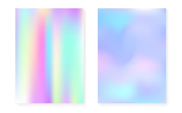 Holographisches cover mit hologramm-gradientenhintergrund. 90er, 80er retro-stil. perlglanz-grafikvorlage für broschüre, banner, tapete, handy-bildschirm. kreative minimale holografische abdeckung.