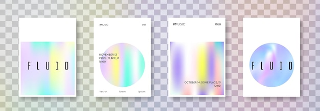 Holographisches cover-set. abstrakte hintergründe. holographische hipster-hülle mit verlaufsgitter. 90er, 80er retro-stil. schillernde grafikvorlage für broschüre, banner, hintergrundbild, handy-bildschirm