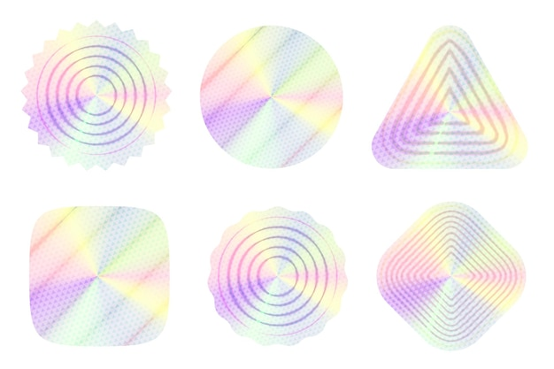 Holographisches etikett mit transparentem musterdesign mit farbverlauf
