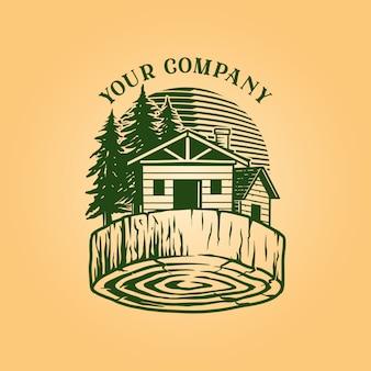 Holz blockhaus logo vintage holz