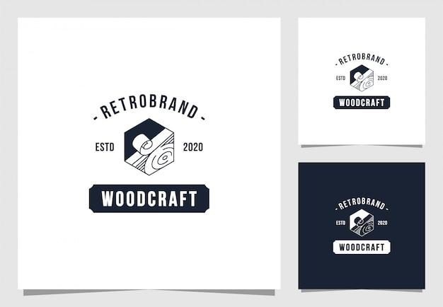 Holz handwerk logo im vintage-stil