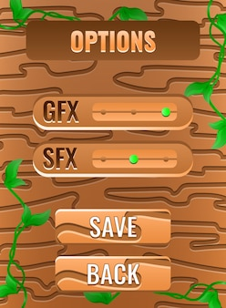 Holz natur verlässt spiel ui optionen menüoberfläche für gui asset elemente
