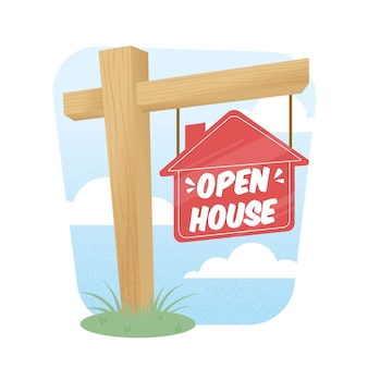 Holz open house zeichen illustration