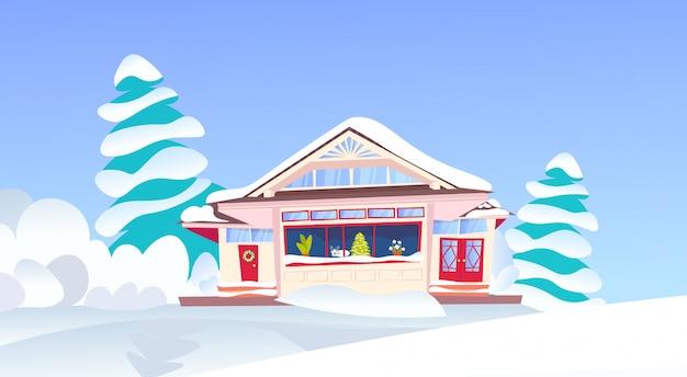 Holz schnee kauerte hütte frohes neues jahr frohe weihnachten urlaub dekorationen schneebedeckten tannenbaum flach