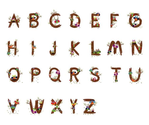 Holz und eule alphabet vektor