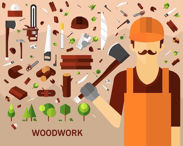 Holzarbeit-konzepthintergrund. flache symbole.