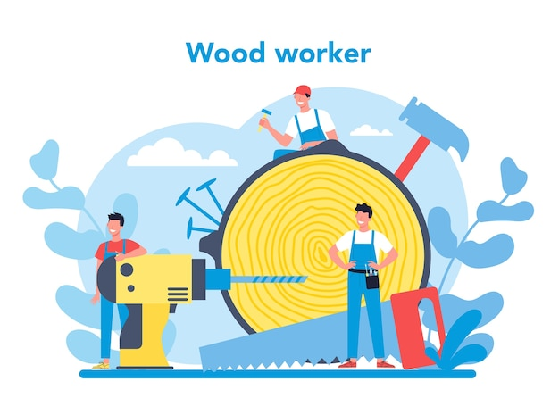 Holzarbeiter- oder zimmermannskonzept. baumeister trägt helm und overall mit holzarbeiten. tischlerei und schreinerwerkstatt. isolierte vektorillustration