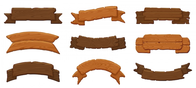 Holzbandbretter. antike holzschilder, hängende hölzerne plakatwand und leere rustikale fahnenillustrationsikonen setzen. holzbrettbrett, wegweiser der holzplatte