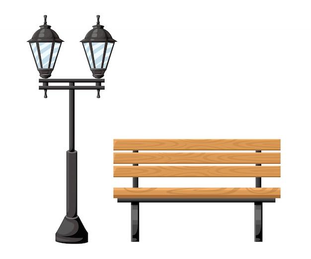 Holzbank im freien und metall-straßenlaternen-vorderansichtobjekt für parkhaus- und hofillustration auf weißer hintergrundwebseite und mobiler app