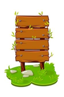 Holzbanner aus platten auf einer cartoon-insel mit gras. vektorillustration einer brettschablone mit nägeln für das spiel.