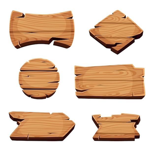 Holzbanner. leere karikatur-holzschablonenschablone der leeren schilder. brett banner aus holz, schild leer leer, hartholz abzeichen illustration