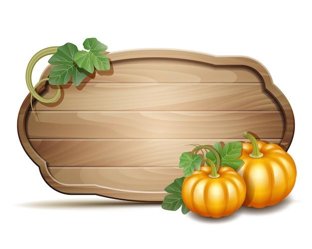 Holzbanner mit orangefarbenen kürbissen. illustration herbsterntefest oder erntedankfest.