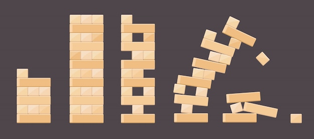 Holzbausteindetails von den turmspielen für kinder. vector hölzernen ziegelstein, gestaltwürfelblock, spielzeugturm-bauillustration