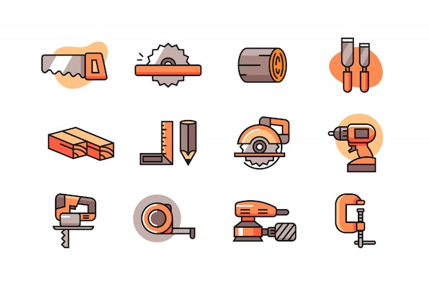 Holzbearbeitung-icon-set