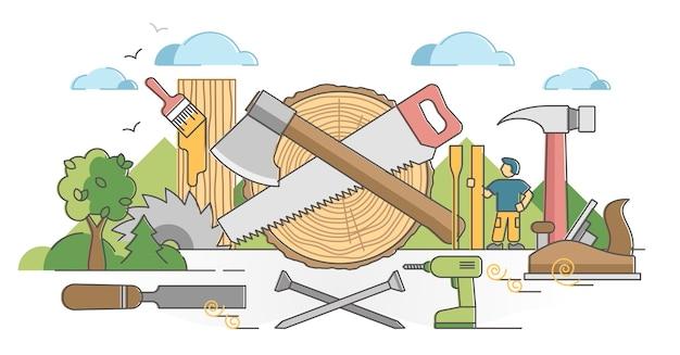 Holzbearbeitungsprozess und schreinerhandwerker berufsszene umrisskonzept. professionelle abbildung von instrumenten und geräten aus holz. hobel, meißel und nägel zum basteln.