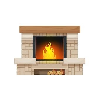 Holzbefeuerter kamin oder herd isoliertes vektorsymbol. kamin oder ofen aus stein oder ziegeln mit brennendem feuer, holzsims oder kaminsims und brennholzregal mit holzscheiten