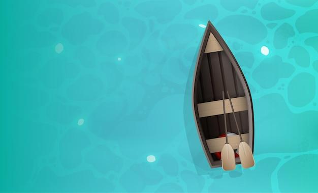 Holzboot mit rudern