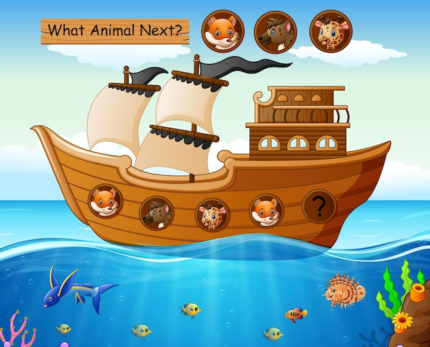 Holzboot segeln mit tieren thema