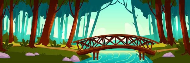 Holzbrücke, die fluss im wald kreuzt