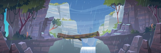 Holzbrücke zwischen bergen über klippe bei regenwetter