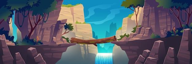 Holzbrücke zwischen bergen über klippe in felsengipfellandschaft mit wasserfall und baumhintergrund. schöne landschaft naturansicht, strahlbrücke verbinden felsige kanten, cartoon-vektor-illustration