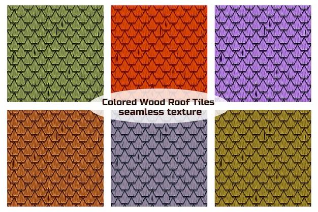 Holzdach in form von sechseckigen schindelziegeln. nahtlose textur