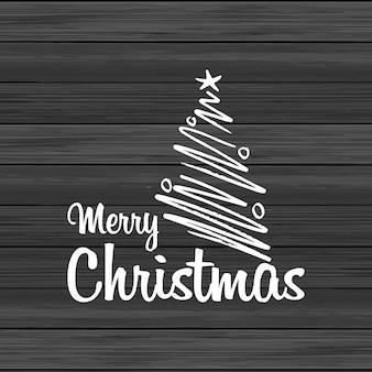 Hölzerner Hintergrund der frohen Weihnachten mit kreativer Beschriftung