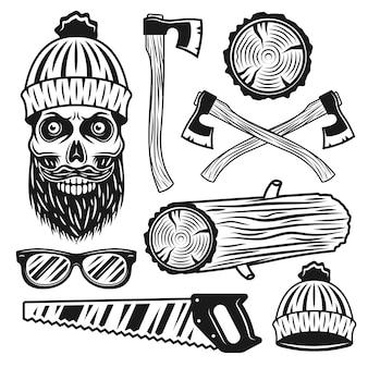 Holzfäller ausrüstung und attribute satz von schwarzen objekten