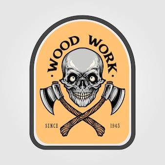Holzfäller axt schädel emblem illustrationen