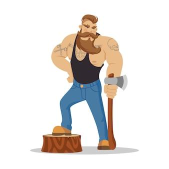Holzfäller brutaler bärtiger mann im rot karierten hemd mit axt in den händen.