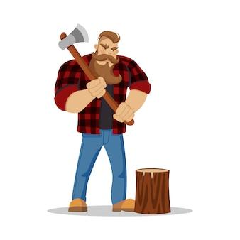 Holzfäller brutaler bärtiger mann in rot