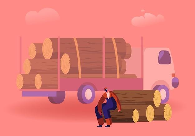 Holzfäller, der pause hat, der auf hölzernen baumstammpfahl im wald nahe lkw für baumtransport sitzt. karikatur flache illustration