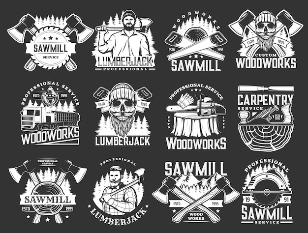 Holzfäller, holzarbeiten, zimmerei und sägewerk-ikonen