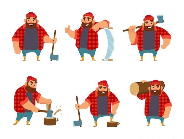 Holzfäller in verschiedenen aktionshaltungen.