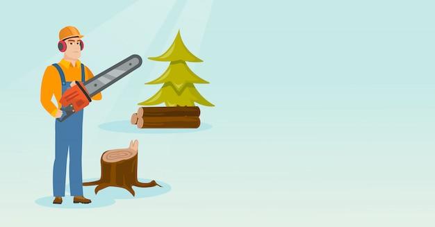 Holzfäller mit kettensägenvektorillustration.