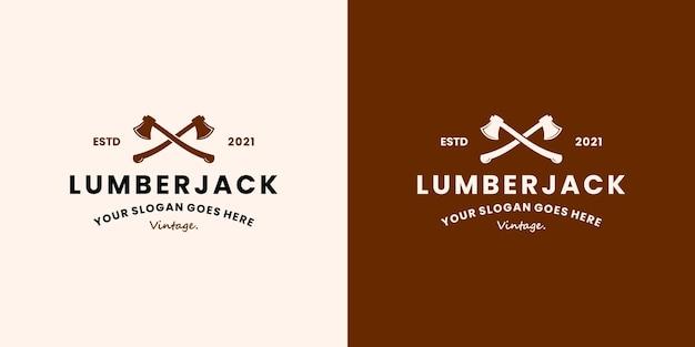 Holzfäller-retro-logo-design-vektor für holzfäller, harte arbeit
