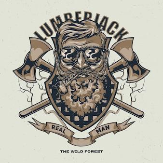 Holzfäller-t-shirt-entwurf mit illustration des bärtigen mannes in den gläsern mit zwei achsen