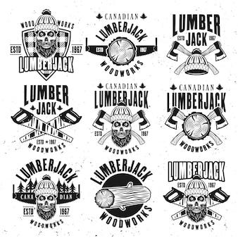 Holzfäller vintage schwarze embleme und abzeichen