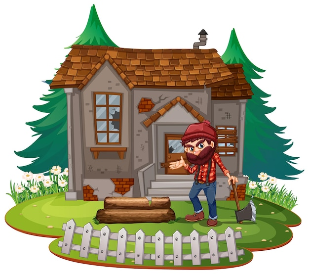 Holzfäller vor altem haus