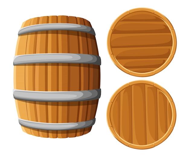 Holzfass mit eisenringen. auf weißem hintergrund. holzbierfass. pub- und barkarte, etikett für alkoholische getränke, brauereisymbol