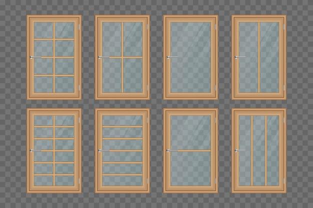 Holzfenster setzen illustration lokalisiert auf transparentem hintergrund