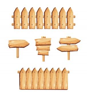 Holzgartenzäune und holzschilder. zaun hergestellt von den brettern und von der zeigerillustration