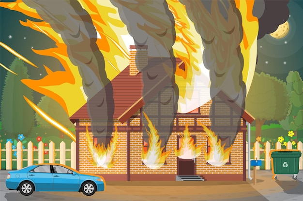 Holzhaus brennt illustration