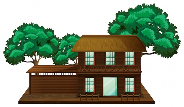 Holzhaus mit baumillustrationsszene