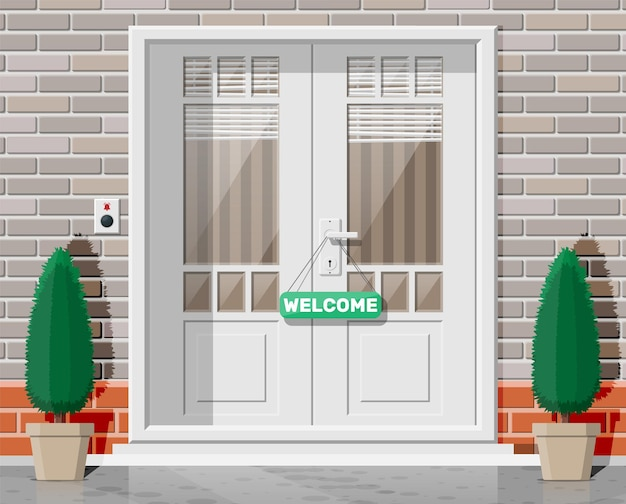 Holzhaustür mit fenstern und jalousie auf der straße. geschlossene tür mit chromgriff und klingelknopf an der vordertür. konzept der einladung zum eintritt oder neue gelegenheit. flache vektorillustration
